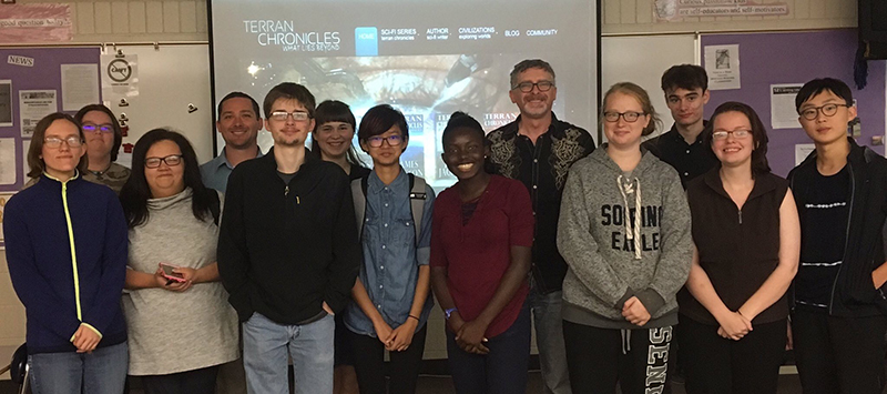 James Jackson with students from Mount Pleasant High School in a Terran Chronicles Writers Workshop