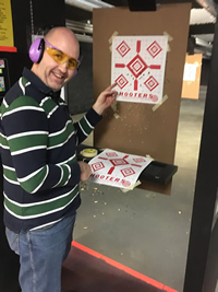 Letting down what hair Jason has with some target practice at Shooters with James Jackson